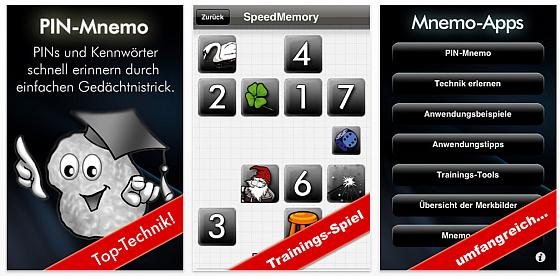 Mit PIN-Mnemo, der Gedächtnistrick-App für iPhone und iPod Touch trainierst Du kostenlos Dein Gedächtnis