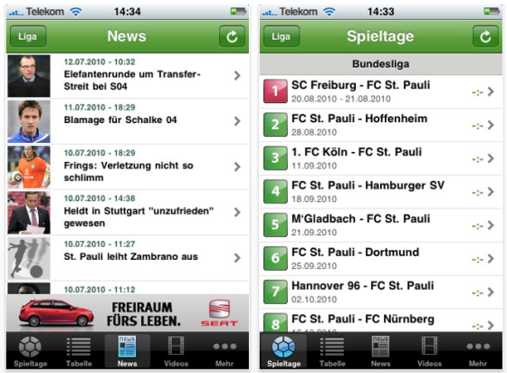 Screenshot iLiga 3 für iPhone und iPod Touch