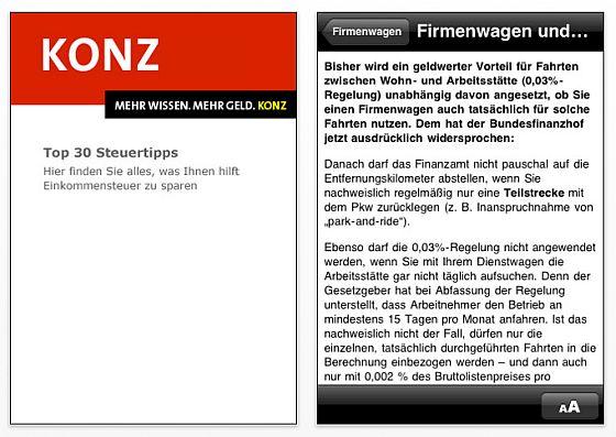Konz Tipps App für iPhone und iPod Touch
