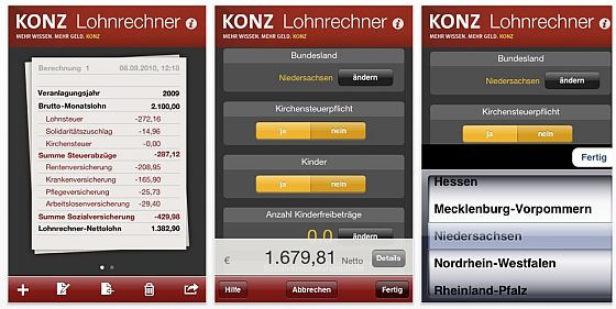 Lohnrechner von Konz fr iPhone und iPod Touch Screenshot
