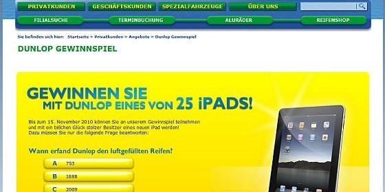Kurztipp: Euromaster verlost zusammen mit Dunlop 25 iPads