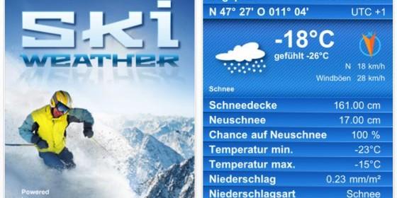 Das aktuelle Skiwetter kostenlos auf Deinem iPhone und iPod Touch