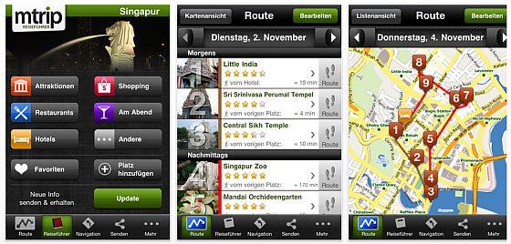 Screenshots mTrip Reiseführer Singapur