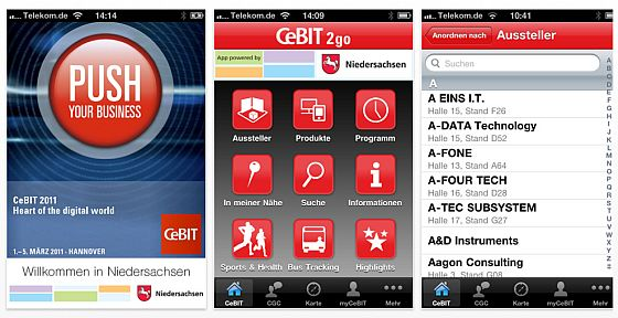 CEBIT2Go App zur CEBIT Screenshots