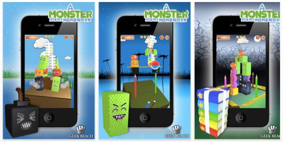 A Monster ate my Homework App für iPhone, iPod Touch, iPad und Mac Screenshots iPhone