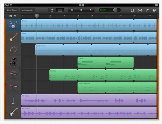 Mixer in der Musik-App fr iPad Garageband von Apple