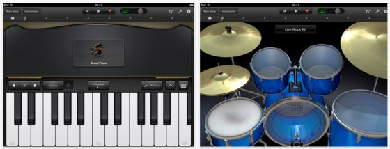 Musik-App Garageband fr das iPad von Apple - Screenshot von Klavier und Drums