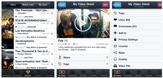 vimeo App für iPhone, iPod Toucvh 4. Generation und iPad 2 - Screenshots