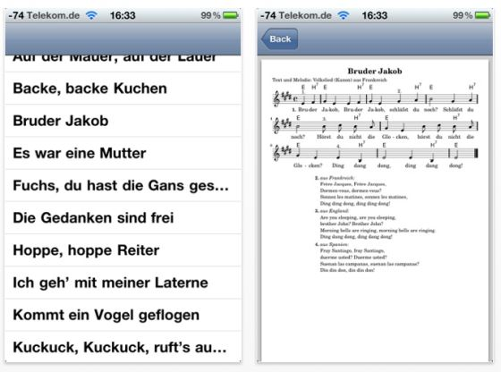 Kinderlieder App für iPhone, iPod Touch und iPad