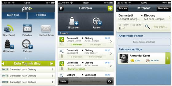 Fahrgemeinschafts-App flinc vermittelt übers iPhone Mitfahrten und ist mit Navigons iPhone Navi verbunden