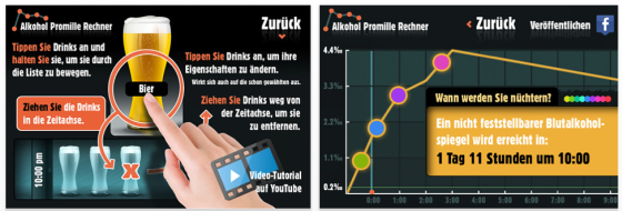 Alkohol Promille Rechner Screenshots der App fr iPhone, iPod Touch und iPad