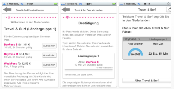Travel &amp; Surf Screenshots der Telekom-App fr das iPhone zum Internetzugang im Ausland