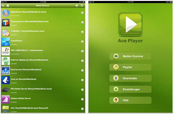 AcePlayer fr iPhone und iPad Screenshots 
