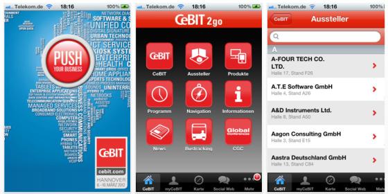 Die CEBIT mit der Messeführer-App auf dem iPhone, iPod Touch und iPad besuchen