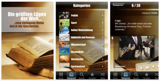 Die größten Lügen der Welt - iPhone App Screenshots