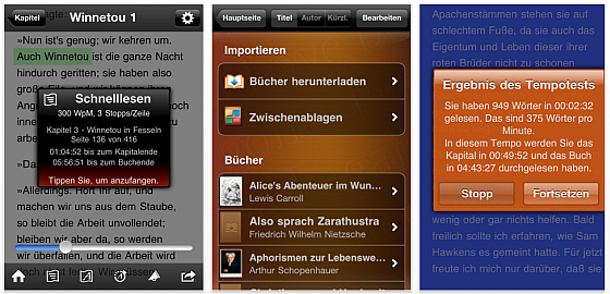 Screenshots von QuickReader für iPhone, iPod Touch und iPad