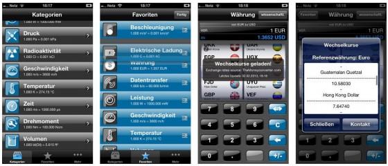 Mit iUnit kannst Du alle möglichen Einheiten und Währungen schnell umrechnen. Die App setzt auf leichte Bedienbarkeit und steht in deutscher Sprache zur Verfügung.