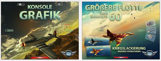 Das Spiel bietet 60 verschiedene Kampfflugzeuge (von denen man aber einige mit echtem Geld kaufen muss)