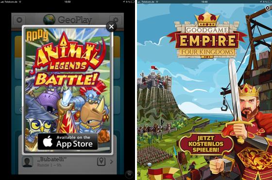 Links die Werbung in Geo Play Pro (der Vollversion!), rechts die absolut displayfüllende Werbung in Quizduell. Passt man nicht auf, tippt man aus Versehen darauf, öffnet den App Store und muss den erst wieder schließen und die App erneut aufrufen. Doch wie oft macht man das, bevor man entnervt aufgibt?