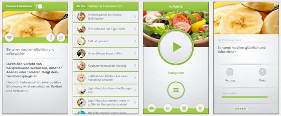 Mit Ernährungs-Quiz pro kann man seine Kenntnisse über Ernährung, Fitness und Gesundheit spielerisch verbessern. Die App bietet dazu eine sehr augenfreundliche, frische Gestaltung.