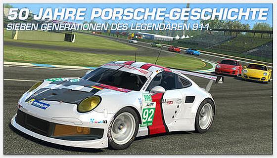 """Sieben Generationen des Porsche 911er kann man jetzt in Real Racing 3 kaufen und in der neuen Serie """"50 Jahre 911er"""" mitfahren."""
