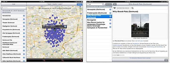 Wikipedia auf der Karte Screens iPad