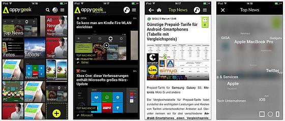 Auf iPhone und Android Smartphone zeigt Appy Geek die Nachrichten mit einem Daumen steuerbar an. Mit der App auf dem iPhone gibt es keine langweiligen Wartezeiten mehr....