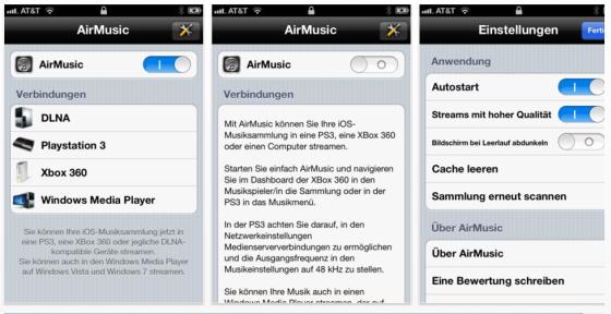 Zum sehen gibt es bei AirMusic nicht so viel - die App ist ja auch dafür da, Musik vom iPhone, iPod Touch oder iPad auf Eure anderen Geräte zu streamen.