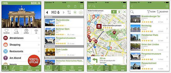Der Reiseführer funktioniert zu 100 Prozent offline und damit sogar in der S-Bahn in Berlin. Integriert ist ein Besichtigungsplaner, eine einfache Navigation und sogar eine Augmented Reality Ansicht mit Eintragung der nächstgelegenen Besichtigungsorte.