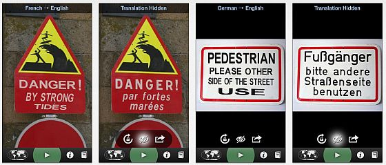 Word Lens übersetzt Schilder und Sätze, auf die Du die Kamera Deines iPhones hälst. Das geht in Windeseile und inzwischen auch überraschend gut.
