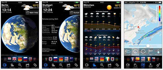 Die verschiedenen Darstellungen des Wetters in Wetter Now wirken hochwertig.