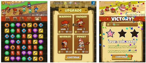 Im linken Bild sieht man das Spielfeld und oben die Kampfanimation. In der Mitte der Verbesserungsbildschirm für die eigene Truppe und rechts die Auswertung eines Levels.