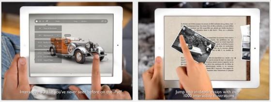 Die Fahrzeuge werden als drehbare Objekte gezeigt und zu den vielen Texten bietet die App über 1000 Abbildungen, die man frei auf dem Display verschieben kann.