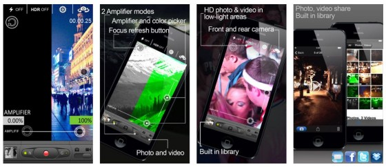 Mit der App NightShot, die auf Euren Bildschirmen dann Night Vision heißt, kann man Fotos in Dunkelheit machen, Filme im grünen Nachtsichtgerät-Modus aufnehmen und so einigen Spaß damit haben. Wunder sollte man aber nicht erwarten.