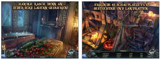 Der Grafikstil unstreicht die gruselige Grundathmosphäre des Spiels. Rechts siehst Du eine typische Wimmelbildszenerie.