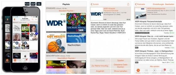 Mit RSSRadio kannst Du beliebig viele Podcasts abonnieren und entweder runterladen oder auch per Stream hören.