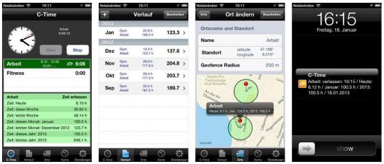 Mit C-Time auf dem iPhone hast Du eine automatische Zeiterfassung in der Tasche, die Dich an verschiedenen Orten anmeldet und wieder abmeldet und Dir nach etwas Zeit eine Übersicht liefert, wo Du wieviel Zeit verbringst.