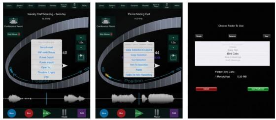 Der HT Recorder for iPad bietet zahlreiche Bearbeitungsmöglichkeiten für die Aufnahmen.