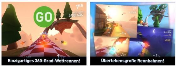 In Tail Drift fliegst Du auf vordefinierten Rennstrecken Rennen und sammelst dabei Münzen und Goodies ein.
