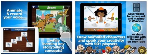 Mit der iPad-App Toontastic können Kinder einfache Zeuichentrickfilme selbst erstellen - mit ihren Ideen und den zahlreichen Vorlagen und Hilfen, die die App bietet.