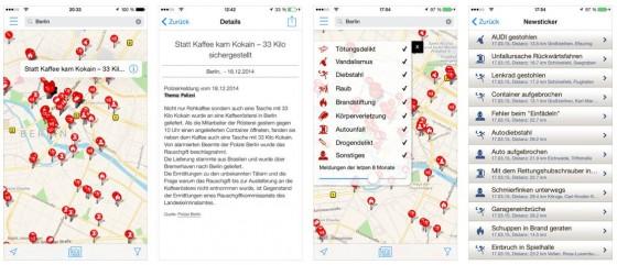 Mit der gerade in Version 2.0 erschienenen App Verbrechen kann man sich über polizeibekannte Vorfälle in der Umgebung oder an einem frei wählbaren Ort informieren.