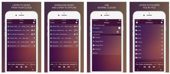 Das lila-farbene Design ist nicht unbedingt das Highlight der App, aber dafür machst Du Dich mit CloudPlayer Pro etwas unabhängiger von iTunes...