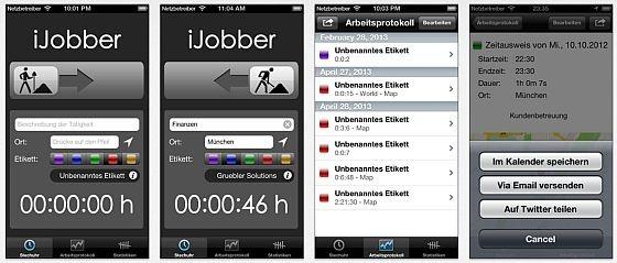 Die App iJobber besticht durch eine sehr einfache Bedienung, bietet dafür aber auch nur fünf Hauptkategorien, in die man die Arbeitszeiten unterteilen kann.