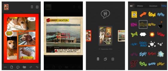 Mit Halftone kannst Du einzelne Bilder bearbeiten, ganze Seiten mit mehreren Bildern und sogar Comic-Bücher erstellen oder auch Videos aus Bildsammlungen erstellen. Das Programm bringt genug Filter, Sticker und sogar Soundeffekte mit.
