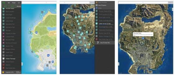 Klasse Karten mit allem, was man braucht, bietet die App Interactive Maps for GTA V - Unofficial