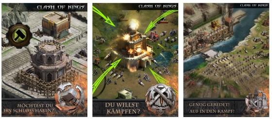 Präsentationsbilder für Clash of Kings im App Store. Sieht nach Abenteuer und Spannung aus...