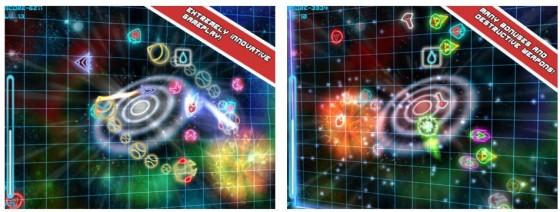Hyperlight ist eigentlich mehr Geschicklichkeits- und Reaktionsspiel als Weltraumgeballere, denn hier weichst Du den Gegnern aus und sammelst defensive Waffen, die Dir bei Beinahezusammenstößen helfen.