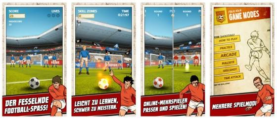Angelehnt an das klassische Tischspiel Tipp Kick bietet die App Flick Kick Football gute Unterhaltung und Spannung für Fußballfreunde.