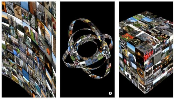 Die Fotos von Deinem iPhone oder iPad werden in MovingPhotos in Bewegung gezeigt und bilden immer wieder neue geometrische Formen. Das sieht wirklich nett aus.