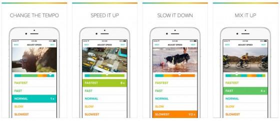 Mit dem Tempo Video Editor passt Du die Geschwindigkeit von Clipsequenzen an. So kannst Du einzelne Momente besonders hervorheben. Die App erlaubt auch die nachvertonung unabhängig von der Laufgeschwindigkeit des Videos.